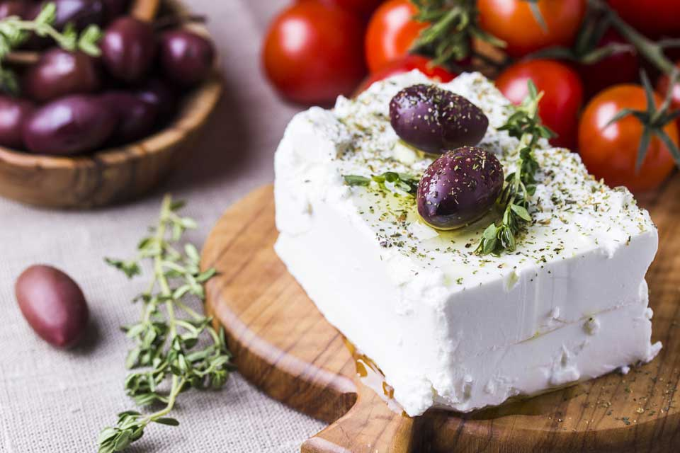 Feta cheese and other natural ingredients from the island